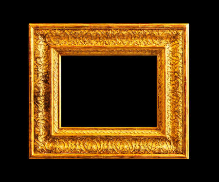 Old wooden gold frame isolated on black background