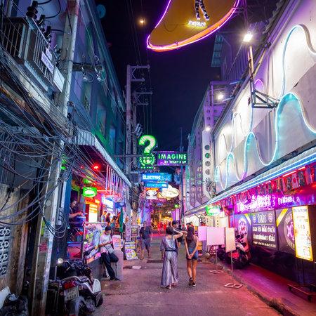 PATTAYA, THAILAND - 24 April 2019: Small night street in Pattaya Editorial