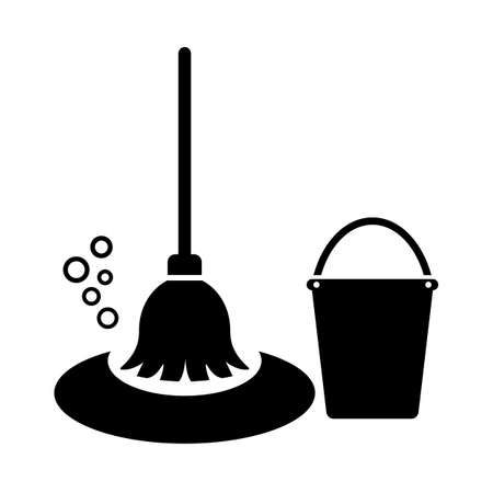 Mop and bucket vector icon isolated on white background