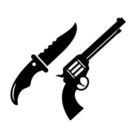Weapon knife and gun vector icon isolated on white background