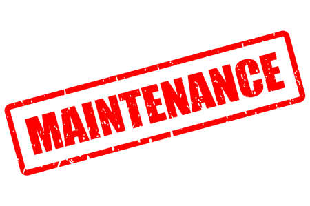 Red grunge maintenance stamp on white background
