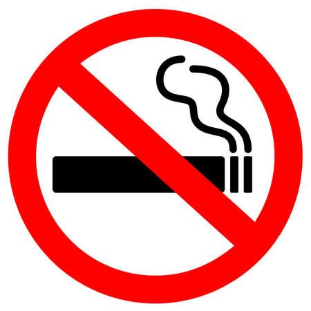 Nessun segno di vettore di fumare su sfondo bianco