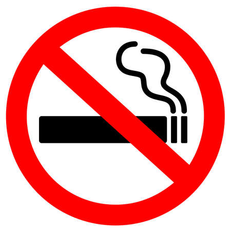 Nichtraucher-Vektorzeichen auf weißem Hintergrund