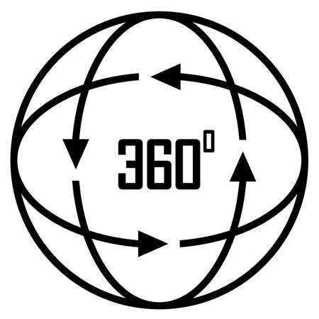 360 degree vector icon isolated on white background Illusztráció