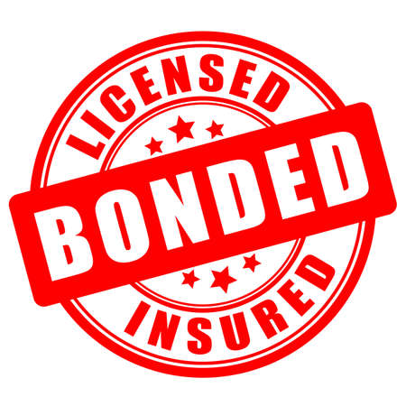 Licensed bonded insured round seal on white background