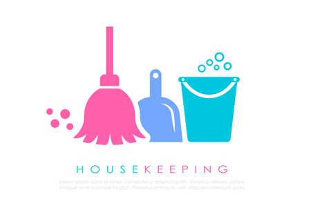 Diseño de logotipo de vector de limpieza sobre fondo blanco