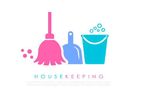 Housekeeping vector logo design on white background