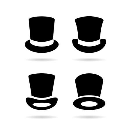 Old style black top hat icons isolated on white background