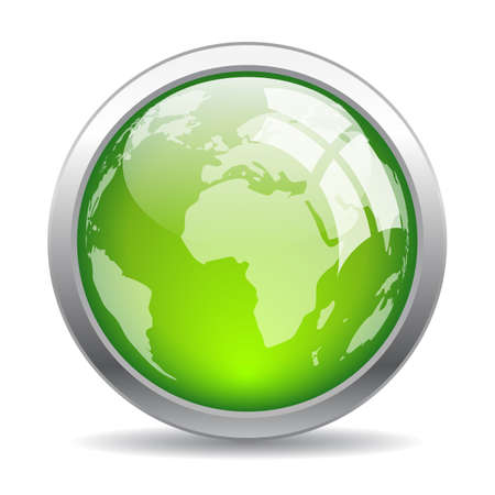 Earth glass web button on white background