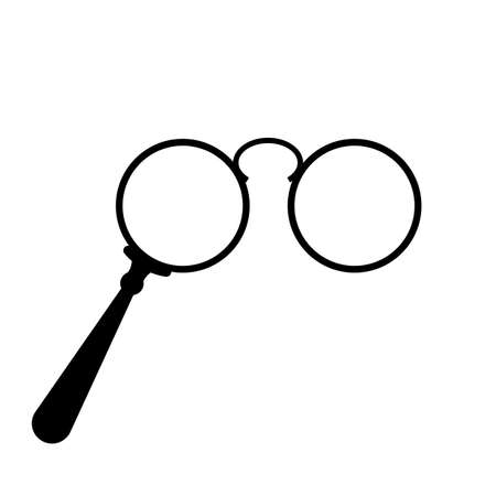 Old lorgnette glasses vector icon on white background