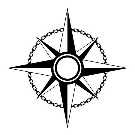 Bussola icona vettoriale vintage su sfondo bianco Vettoriali