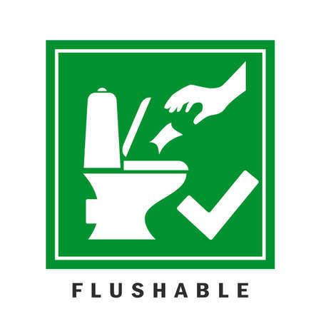 Flushable wipes vector green sign Illusztráció