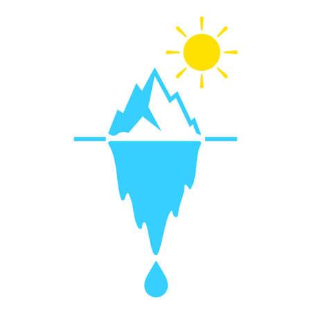 Ikona wektor topnienia lodowca na białym tle