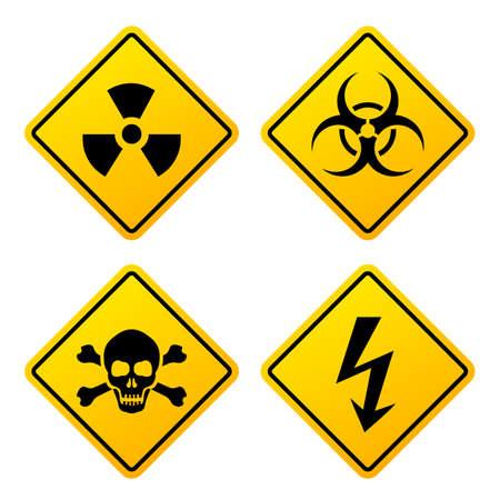 Gele gevaarstekens geplaatst die op witte achtergrond worden geïsoleerd
