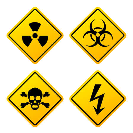 Yellow danger signs set isolated on white background