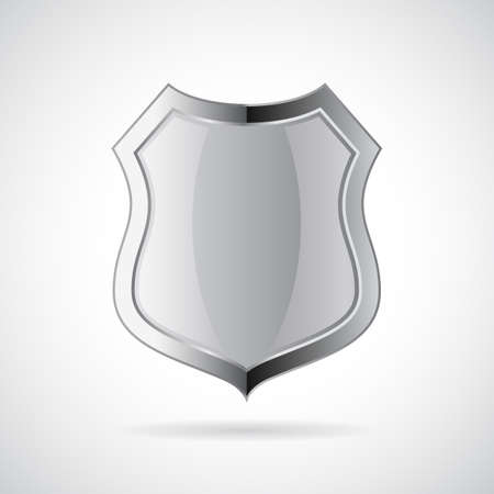 Shiny glass shield vector icon on white background