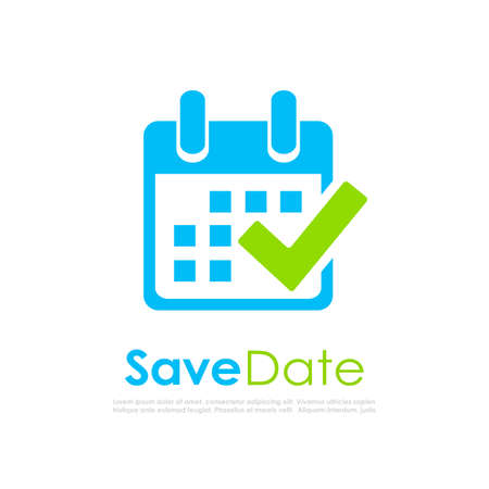 Save the date, calendar vector logo isolated on white background
