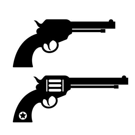 Gun revolver silhouette vector icon on white background