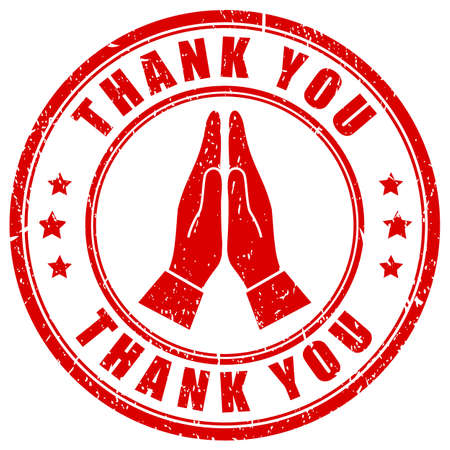 Thank you, gratitude hands gesture on white background