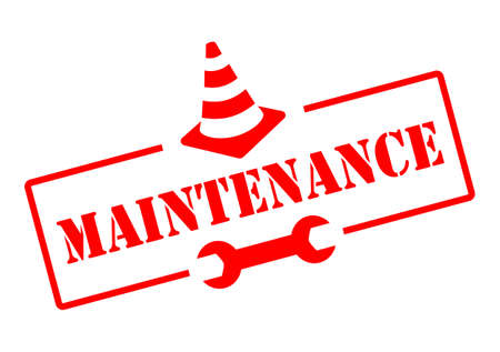 Maintenance red sign, vector illustration