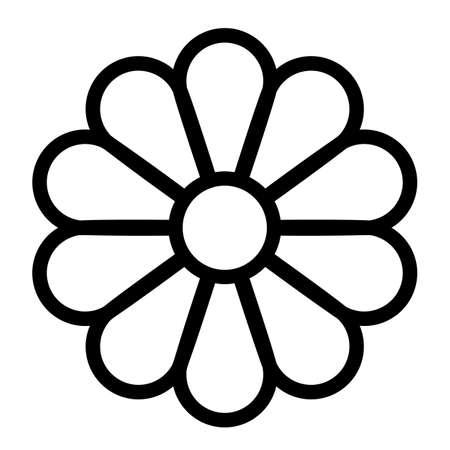 Icône de vecteur de ligne de fleur sur fond blanc