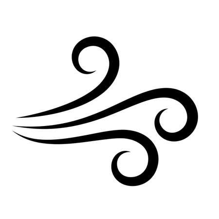 Icona di vettore del flusso d'aria del vento su sfondo bianco