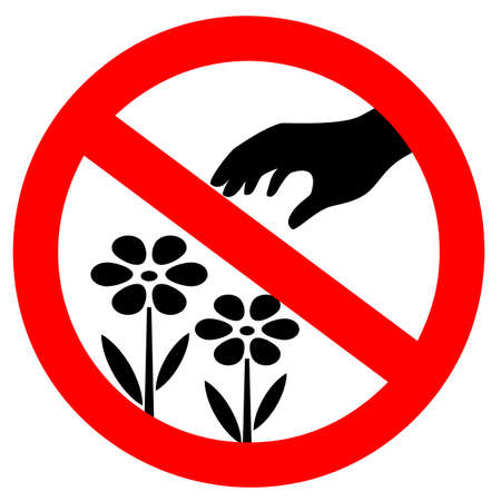 Do not pluck flowers vector sign on white background