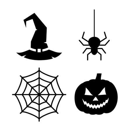 Halloween design elements on white background