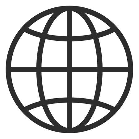 Simple line globe vector icon on white background Illusztráció