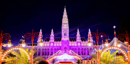 Panoranic view of Vienna City Hall at night