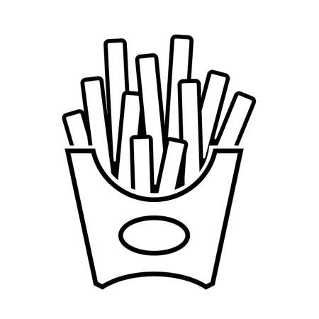 Fries line vector icon on white background