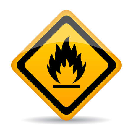 Flammable material vector caution sign on white background