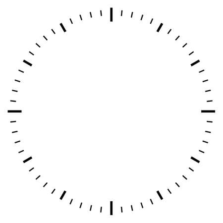 Blank clock dial face vector illustration on white background Ilustração