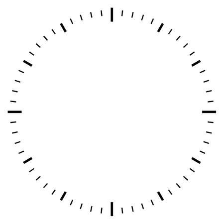 Illustration vectorielle de cadran d'horloge vierge sur fond blanc