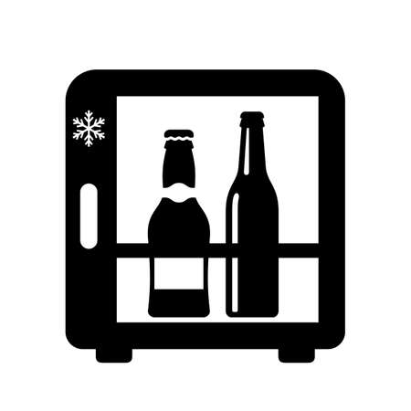 Mini bar fridge vector icon isolated on white background Illusztráció