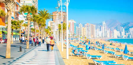 BENIDORM, SPAIN - 14 March 2019: Beach and walkway in Benidorm