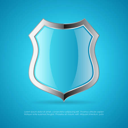 Shield vector icon on blue background Vector Illustration