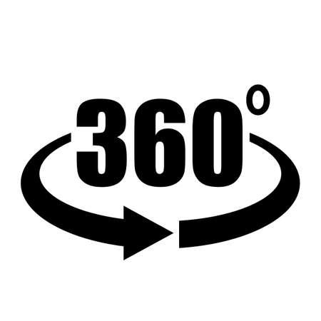 Panorama 360 Vektor-Pfeilsymbol isoliert auf weißem Hintergrund