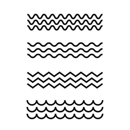 Simple sea waves icons set