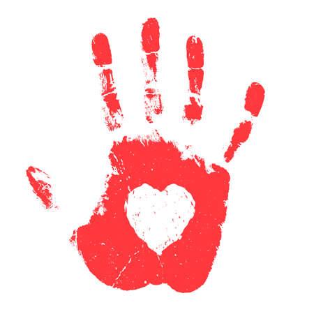 Impresión de la mano con forma de corazón aislada sobre fondo blanco