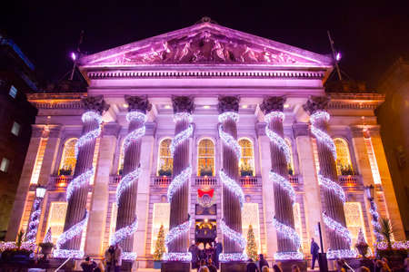 EDINBURGH, SCOTLAND - 4 January, 2019: The Dome building with Christmas lights decorations Stock fotó