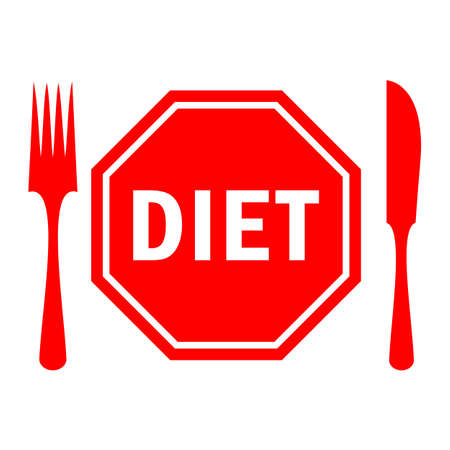 Diet concept vector icon, stop eating Illustration