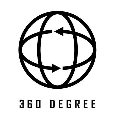 360 degree vector logo isolated on white background