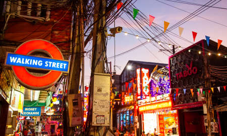 PATTAYA, THAILAND - 24 April 2019: Walking Street – center of nightlife in Pattaya with many go-go bars and strip clubs