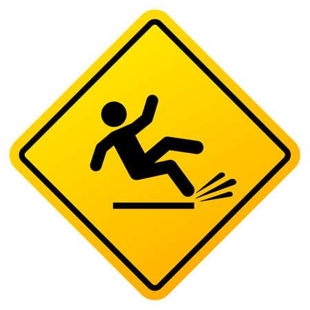 Slippery floor vector warning sign isolated on white background Illustration