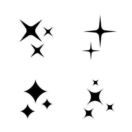 Star sparks icons collection isolated on white background
