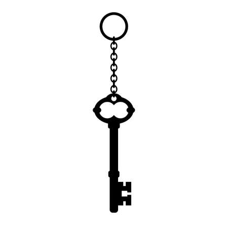 Old key vector icon isolated on white background Foto de archivo - 134792752