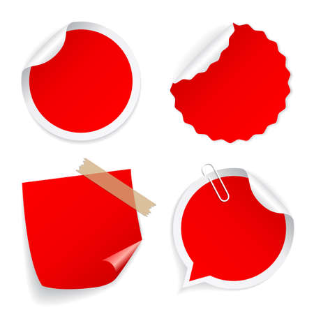 Red round vector sticker collection isolated on white background