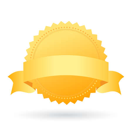 Gold award seal with ribbon on white background