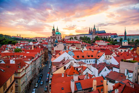 Prague old town at sunset, aerial view